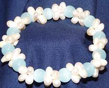Bracelet en perles et billes bleues facon Murano