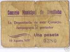 002-INDALO- Benilloba, Alicante. 1 Peseta 1937. Muy escaso !!!!!!!!!!!!!!!!!!!!!