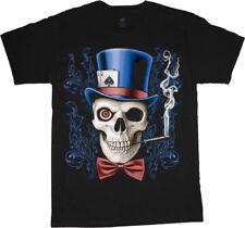Skull design shirt poker gambling decal shirt heavy metal rock t-shirt for men