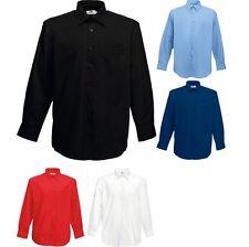 Mens Fruit of the Loom Poplin Cotton Rich Long Sleeve Shirt Top