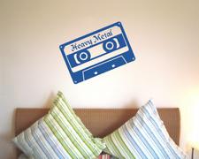 Heavy Metal Wandtattoo Cassette Wandaufkleber   22 Farben 7 Größen