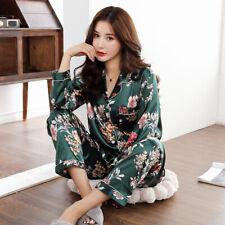 Ladies Printed Satin Pyjamas Set Floral Green Black Womens Pink Nightwear PJ's