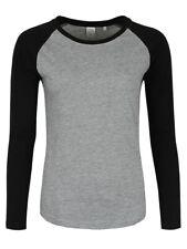 Women's Heather Grey & Black Long Sleeve Baseball T-shirt