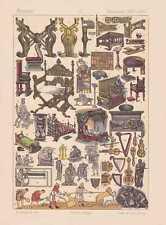 Frankreich Mittelalter Kultur LITHOGRAPHIE von 1883 Kulturgegenstände