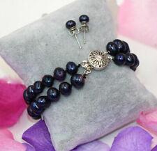 "Cultured Pearl Bangle Bracelet + Earrings Set 6"" 7.5"" 8"" 2Rows 8-9mm Black Akoya"