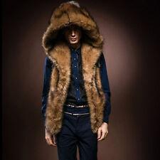 Men Warm Fur Hoodie Sleeveless Vest Hooded Outwear Coat Jacket Waistcoat