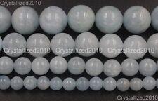 "100% Natural Aquamarine Gemstone Round Loose Beads 4mm 6mm 8mm 10mm 12mm 15.5"""