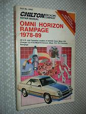 1978-1989 DODGE OMNI CHARGER & PLYMOUTH HORIZON TURISMO SHOP MANUAL SERVICE MOP
