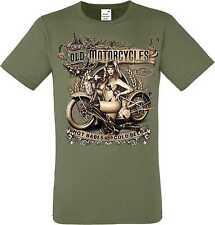 T Shirt oliv HD V Twin Biker Chopper&Oldschooldruck Modell Old Motorcycles Babes