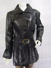 Ladies Black  Leather Slim Tight Fitted 3/4 Long Biker Fashions Jacket Bike