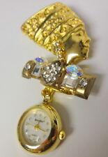 VINTAGE Bonetto Pin Brooch Watch Egyptian Queen Nefertiti