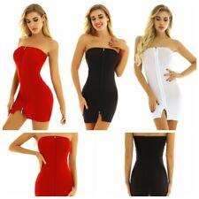 Womens Double Zipper Bodycon Mini Dress Lady Evening Party Slim Fit Pencil Dress