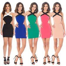 Damen Kleid Mini Stretchkleid sexy Sommer Cocktailkleid Party 34 36 38 NEU