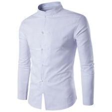 Homme Chemise Chinois Bouton Manche Longue T-shirt Coton Décontracté Montant NF