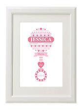 Wordart Personalised Newborn Baby Name Picture for Boy Girl Birthday Christening