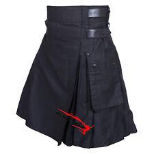 """Men's Black Leather Straps Utility Kilt 30"""" To 50"""" USA Seller"""