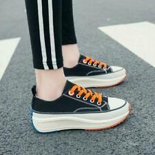 Womens Ladies Fashion Canvas Platform Lace Up Casual Plimsole Shoes Sneakers