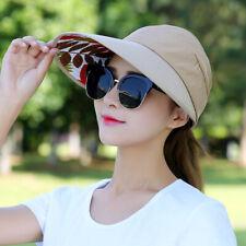 New Women Summer Floral Wide Brim Plain Visor Outdoor Sun Cap Beach Hat Gift