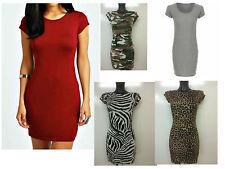 Ladies Womens Short CAP SLEEVE Bodycon MINi Tunic DRESS Long Top Plus Size Lot Z