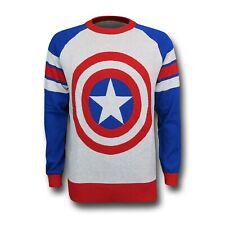 Captain America Shield Intarsia Men's Sweater White