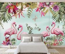 3D Flamingo Blatt 55 Mauer Papier Exklusiv MXY Fototapete Abziehbild Innen Mauer