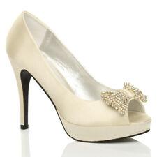Para Mujer Damas Taco Alto Plataforma Peep Toe de arco de boda nupcial Zapatos Talla