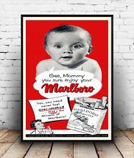 Marlboro maman, vintage cigarette advertising poster reproduction.