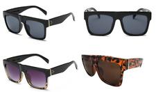 Unisex Retro Square Dark Flat Top Oversized Designer Brand Sunglasses