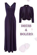 NEW 12 14 Jacques Vert Kate Maxi Dress Chiffon Collar Knit Bolero Damson Purple
