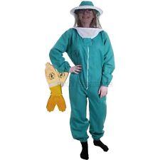 BUZZ BASIC TUTA da apicoltura ,VERDE,  con velo rotondo & GUANTI ventilati