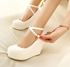Womens Ladies Round Toe Wedge Party Pumps Ankle Cross Strap Platform Bride Shoes