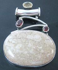 REAL sterling silver genuine FOSSIL JASPER Citrine & Garnet pendant - GIRL WOMEN