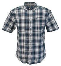Farah Mens Navy/Teal/White Check 100% Cotton Short Sleeved Shirt