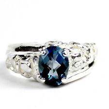 London Blue Topaz, 925 Sterling Silver Men's Ring, SR368