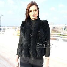 Rabbit Knitted Fur Vest With Raccoon Fur Trim