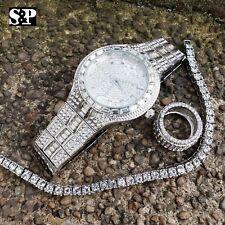 MEN HIP HOP ICED OUT LAB DIAMOND WATCH & RING & TENNIS CHAIN BRACELET COMBO SET