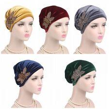 Women Lady Soft Velvet Indian Turban Cap Head Hat Wrap Band Hair Cover Headban