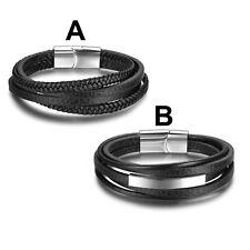 Mens Trendy Stainless Steel Genuine Multilayer Leather Bangle Bracelet Jewellery