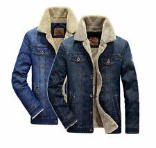 Fashion Mens Casual Fleece Lining Winter Warm Denim Coat Cowboy Jeans Jackets