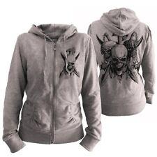 "Damen Zipper ""SKULLS & Arms"" Totenkopf Tattoo Design Skull Kapuzenjacke NEU"