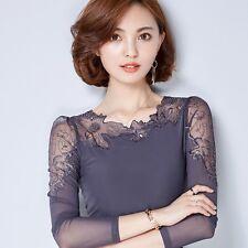 Women Lace Shirt T-shirt Chiffon Sheer Long Sleeve Slim Pullover Blouse Top Soft