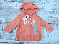 Baby Gap Boys Sz 3-6-12 Mo NEW Orange Zip-Up Hoodie Logo Jacket
