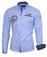 Hemd Herrenhemd Herren Hemden Shirt bestickt Stickerei 82106 blau Binder de Luxe
