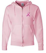 Mens Breast Cancer Awareness Full Zip Hoodie Pink Ribbon Pocket Print Hoody
