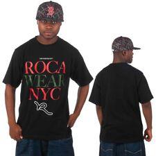 Rocawear Mens Black Blocks Up Star Hip Hop Tee Shirts Money Time Is Summer