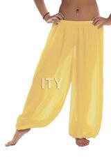 Yellow Chiffon Harem Yoga Pant Belly Dance Halloween Pantaloons Trousers