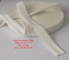 25mm Crema Cotone Herringbone Tappezzeria BIAS Grembiule bordatura Bunting Nastro