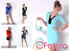 Ladies Elegant Mini Dress V Neck Short Sleeve Bodycon Party Tunic Size 8-12 8474