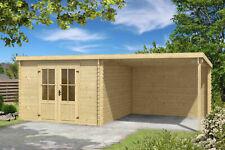 28 mm Gartenhaus mit Anbau Gerätehaus Blockhaus Holzhaus Holz Schleppdach NEU