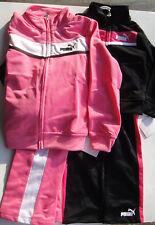 PUMA NWT Girls 2PC Track Suit Jacket Pants Top Warm  Up Zip Pink Black 2 2T 6